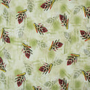 Grass Green Colour Digital Floral Print Fancy Crush Poly Fabric