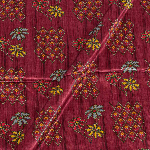 Gaji Maroon Colour Floral Print Fabric