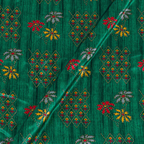 Gaji Green Colour Floral Print Fabric
