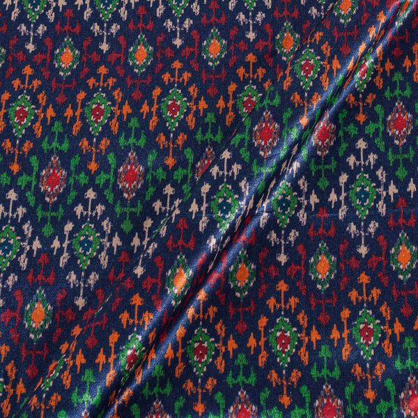 Gaji Navy Blue Colour Ethnic Print 45 Inches Width Fabric