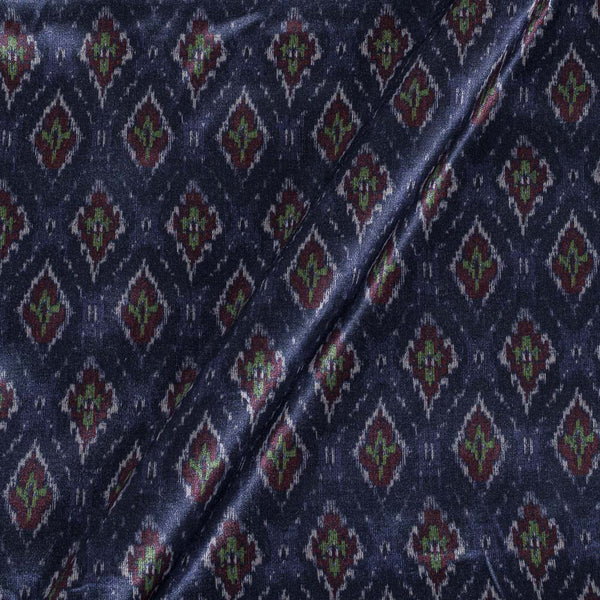 Gaji Navy Blue Colour Ethnic Print Fabric
