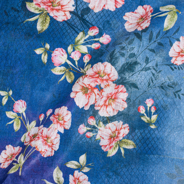 Blue Color Digital Floral Print Handloom Linen Fabric