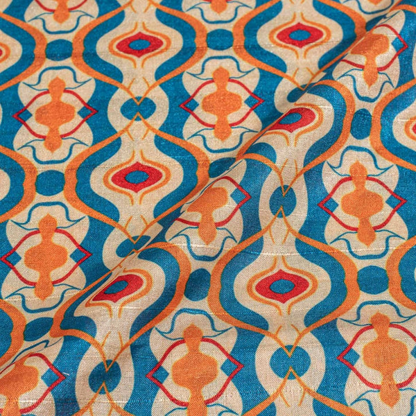Multi Colour Digital Print  Slub Tussar Feel Poly Fabric