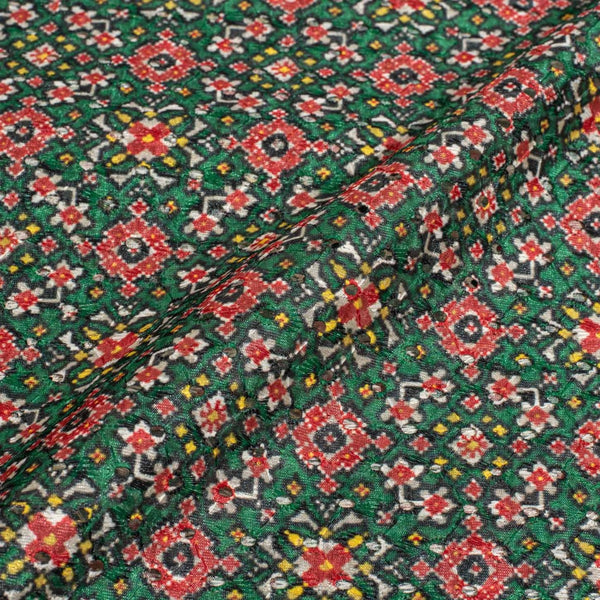 Green Colour Digital Print Schiffli Cut Work Poly Tussar Feel Fabric