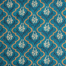 Teal Colour Digital Print Schiffli Cut Work Poly Tussar Feel Fabric
