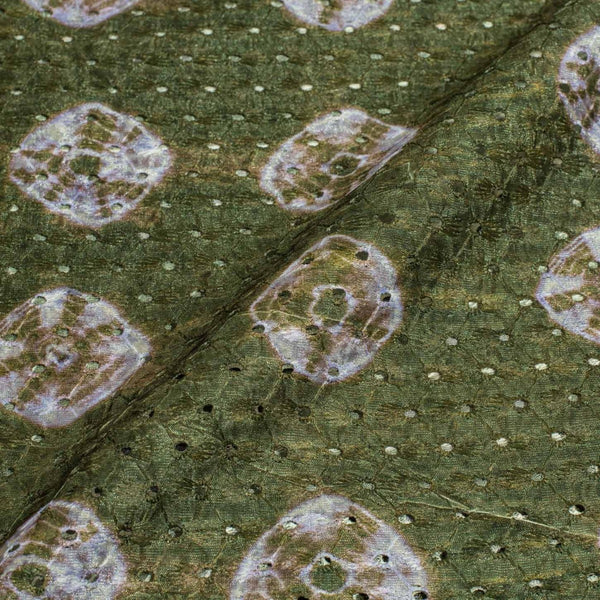 Moss Green Colour Digital Print Schiffli Cut Work Poly Tussar Feel Fabric