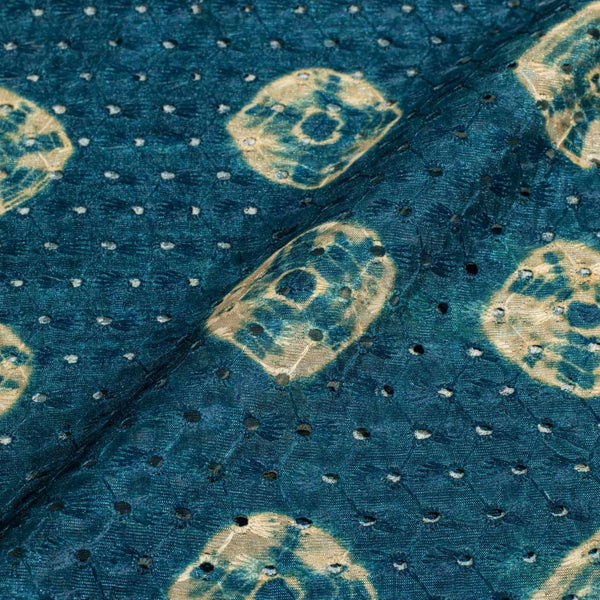 Teal Blue Colour Digital Print Schiffli Cut Work Poly Tussar Feel Fabric