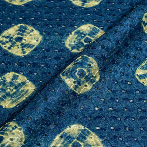 Blue Colour Digital Print Schiffli Cut Work Poly Tussar Feel Fabric