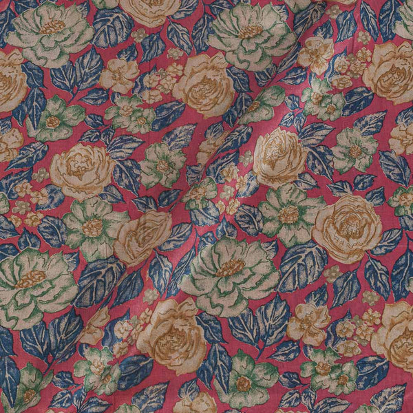 Banarasi Cotton Silk Coral Colour 43 Inches Width Floral Print Fabric