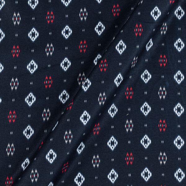Premium Digital Poly Twill Midnight Blue Colour 43 Inches Width Geometric Print Fabric