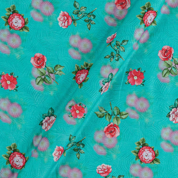 Premium Digital Poly Twill Mint Green Colour 43 Inches Width Floral Print Fabric