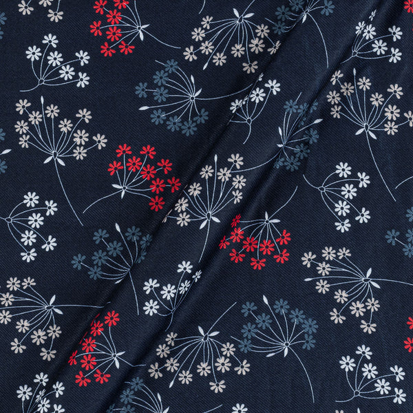Premium Digital Poly Twill Midnight Blue Colour 43 Inches Width Floral Print Fabric