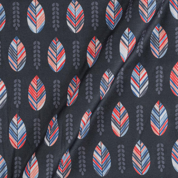 Premium Digital Poly Twill Black Colour 43 Inches Width Leaves Print Fabric