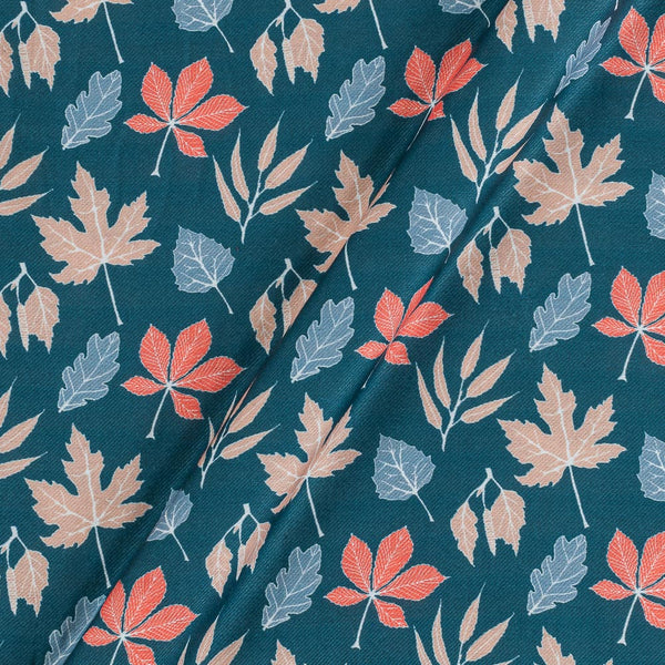 Premium Digital Poly Twill Steel Blue Colour 43 Inches Width Floral Print Fabric