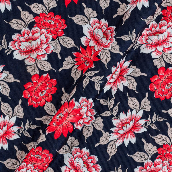 Premium Digital Poly Twill Navy Blue Colour 43 Inches Width Floral Print Fabric