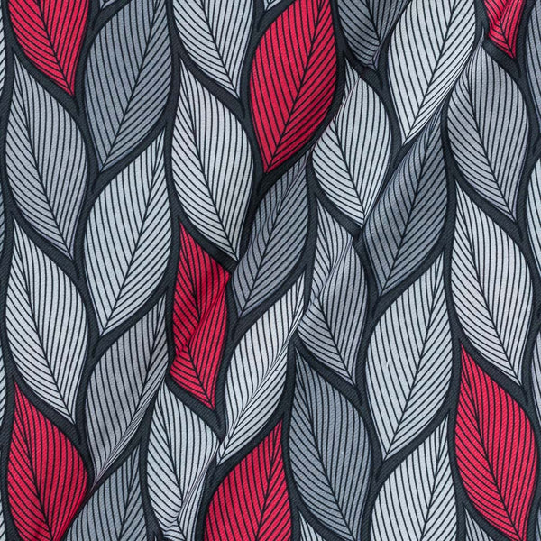 Premium Digital Poly  Twill Grey Colour 43 Inches Width Leaves Print Fabric