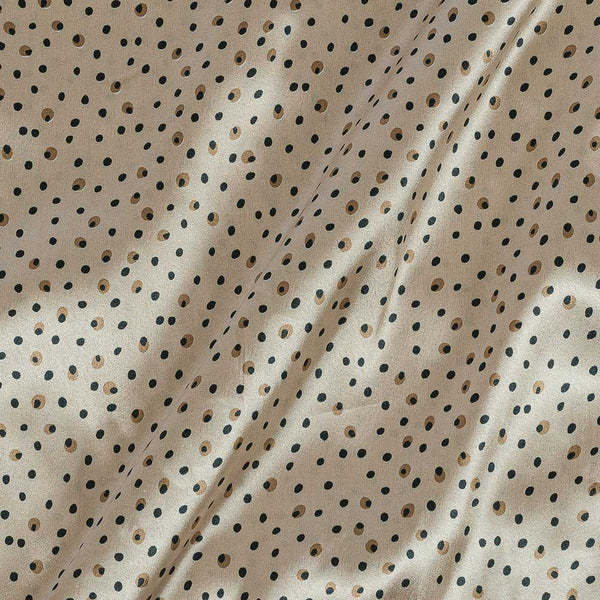 Poly Satin Beige Colour  Polka Print Fabric