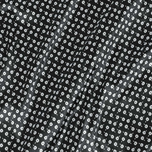 Poly Satin Black Colour Geometric Print Fabric