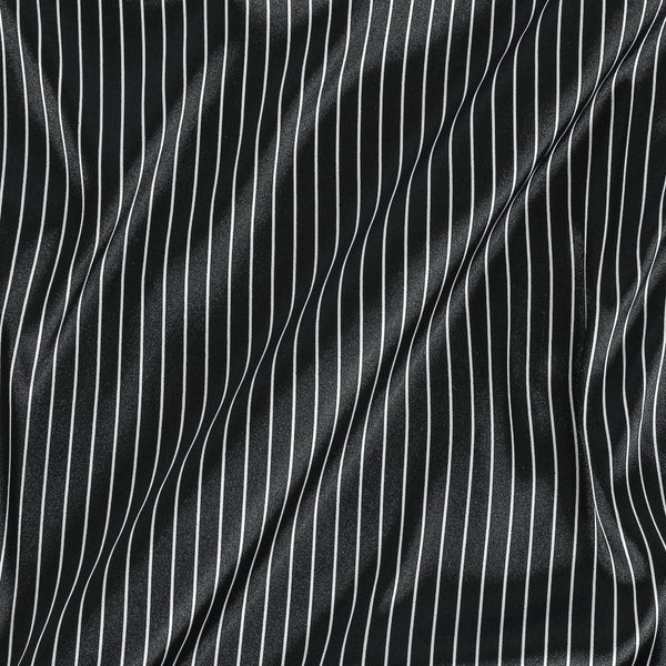Poly Satin Black Colour Stripes Print Fabric
