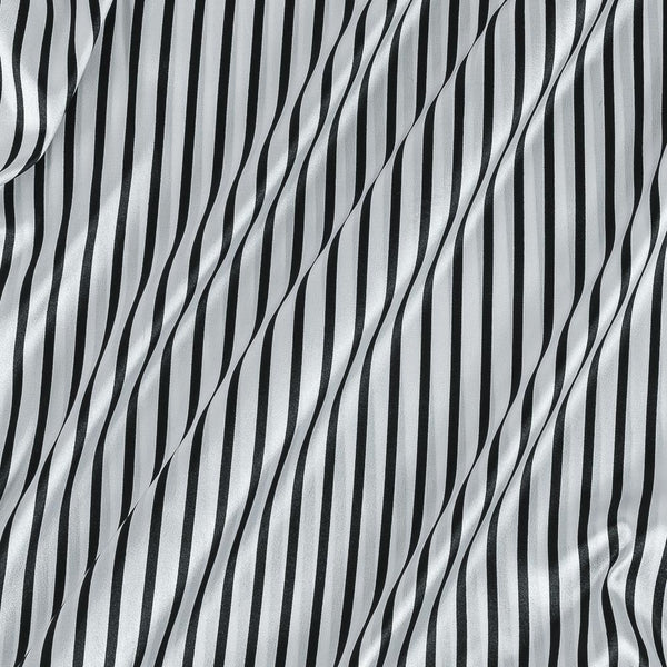 Poly Satin White Colour Stripes Print Fabric