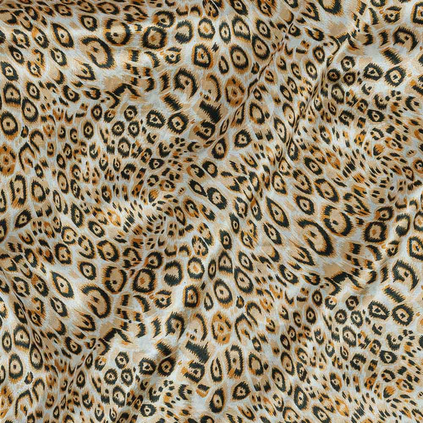 Poly Satin Cream Yellow Colour Abstract Print Fabric
