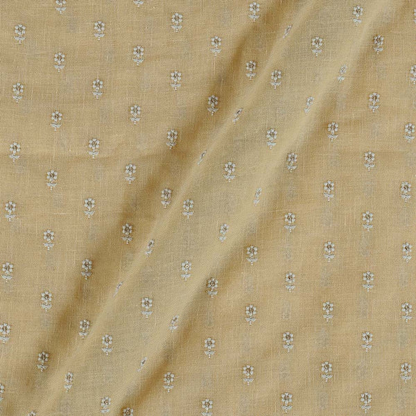 Cotton Linen Cream Yellow Colour Machine Work Small Floral Butti Fabric