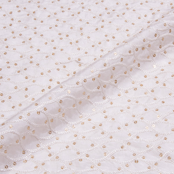 Dyeable Thread & Sequence Embroidered Poly Muslin Fabric