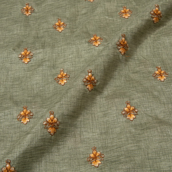 Floral Butti Thread Embroidered Manipuri Fabric
