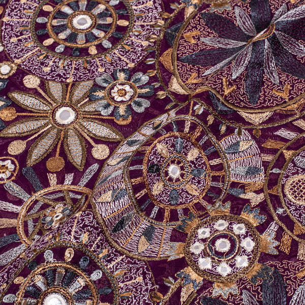 Purple Colour Thread Work Embroidered Georgette Fabric