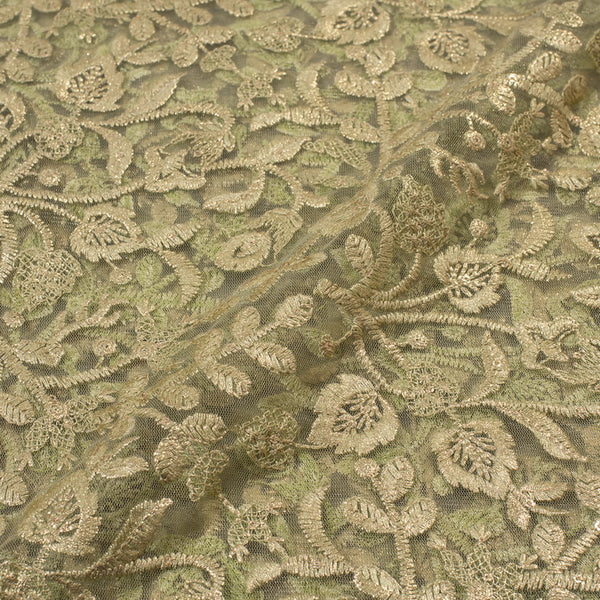 Pastel Green Colour Embroidered Shimmer Soft Net Fabric