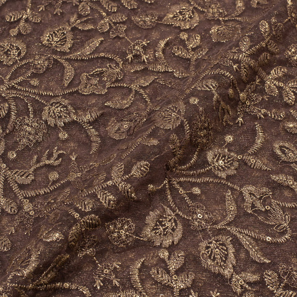 Oak Colour Embroidered Shimmer Soft Net Fabric