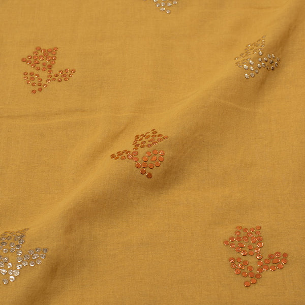 Mustard Yellow Colour Embroidered Poly Cotton Fabric