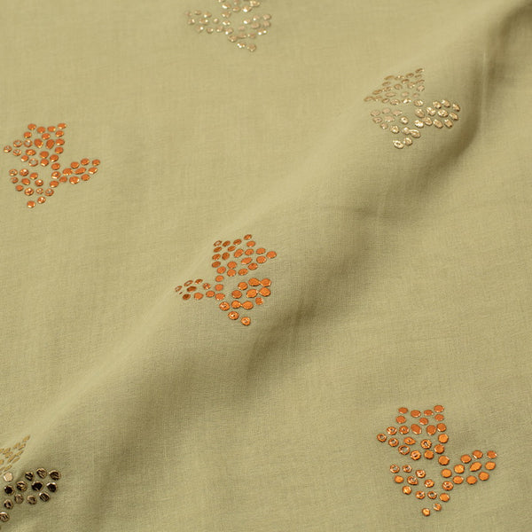 Laurel Green Colour Embroidered Poly Cotton Fabric