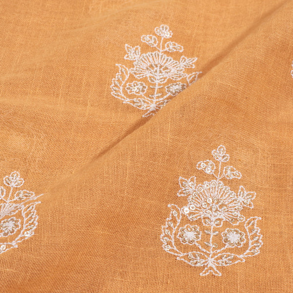 Pastel Orange Colour Machine Thread and sequins Embroidered Cotton Linen Fabric