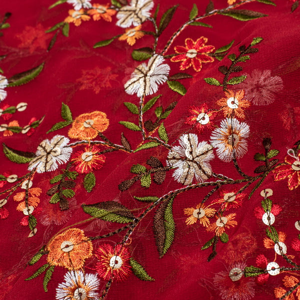 Red Colour Tikki and Thread Work Embroidered Georgette Fabric