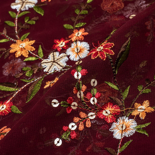 Maroon Colour Tikki and Thread Work Embroidered Georgette Fabric