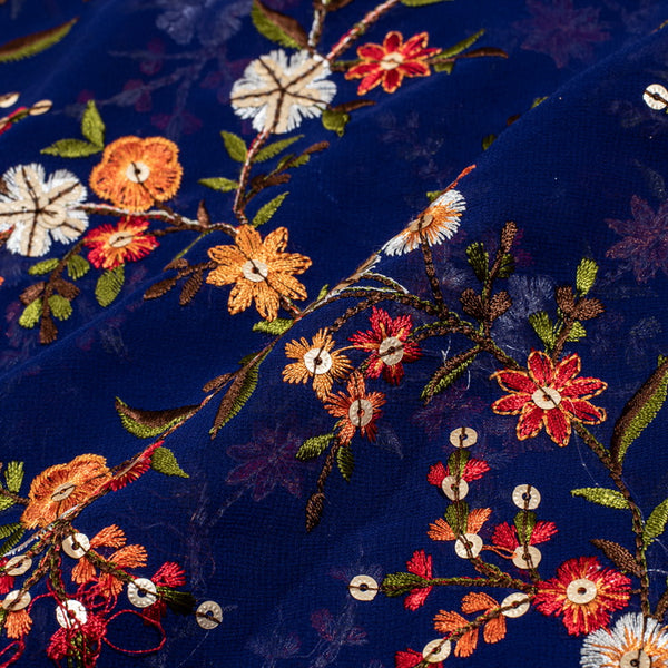 Royal Blue Colour Tikki and Thread Work Embroidered Georgette Fabric