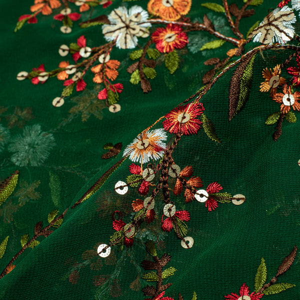 Green Colour Tikki and Thread Work Embroidered Georgette Fabric