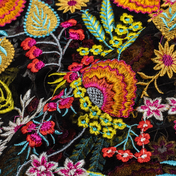 Black Colour Multi Thread  Embroidered [Area 40 inches]Georgette Fabric
