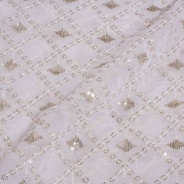 Dyeable Thread Embroidered Viscose Georgette Fabric