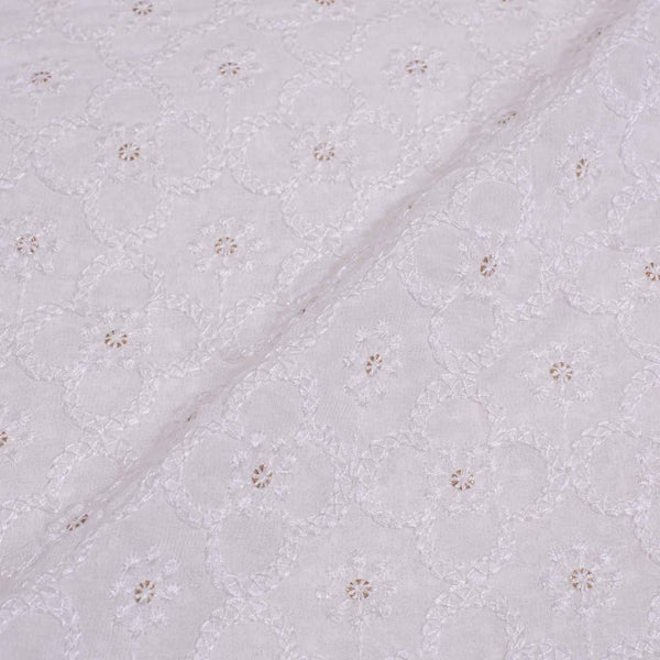 Dyeable Lakhnavi Embroidered Viscose Georgette Fabric