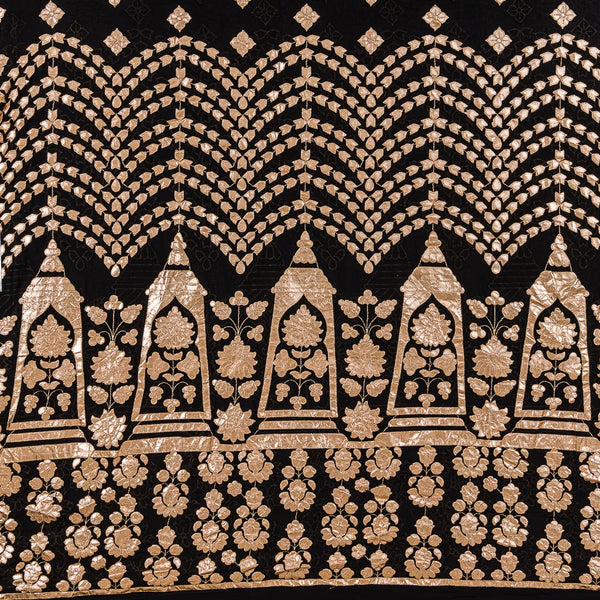 Black Colour Golden Gota Patti Embroidered Poly Georgette Fabric 50 inch Width