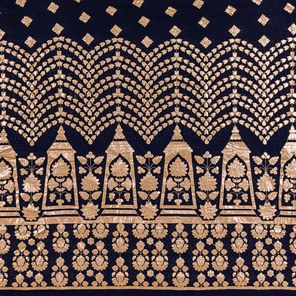 Navy Blue Colour Golden Gota Patti Embroidered Poly Georgette Fabric 50 inch Width