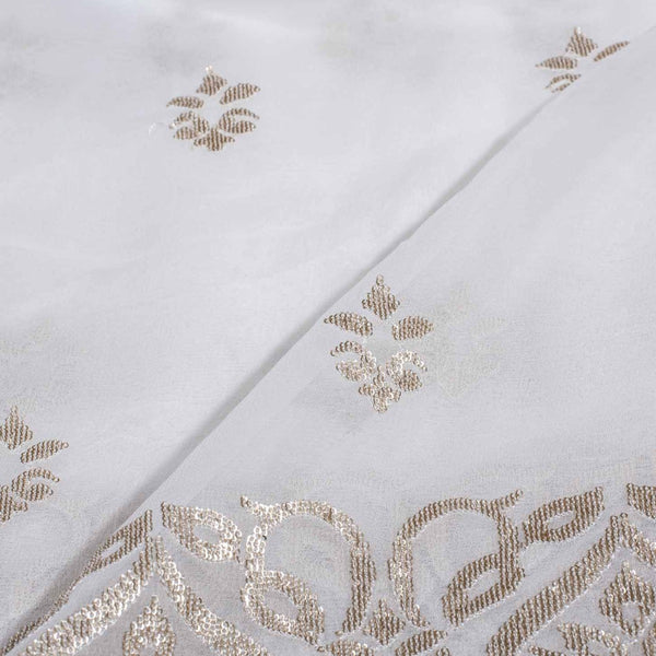 Dyeable Gold Sequence Embroidered Viscose Georgette Fabric With Daman 54 inch Width