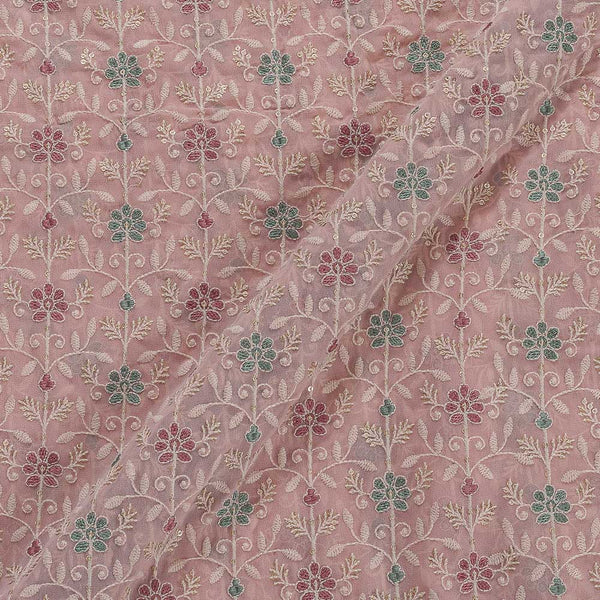Viscose Georgette Petal Pink Colour 42 Inches Width Multi Thread Embroidered Fabric