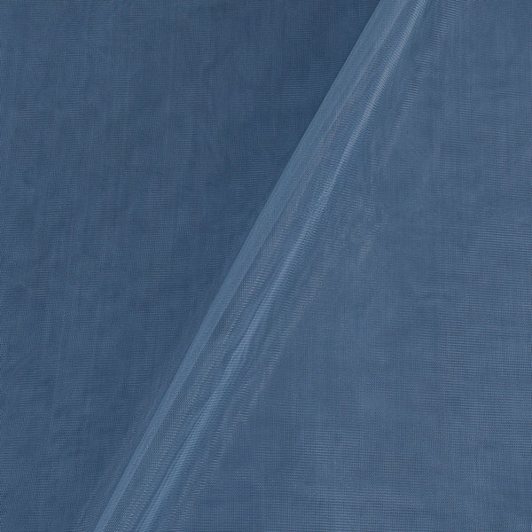 Mono Net Cadet Blue Colour Plain Dyed 45 Inches Width Fabric