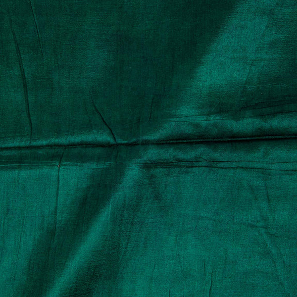 Mashru Gaji Bottle Green Colour  46 inches Width Dyed Fabric