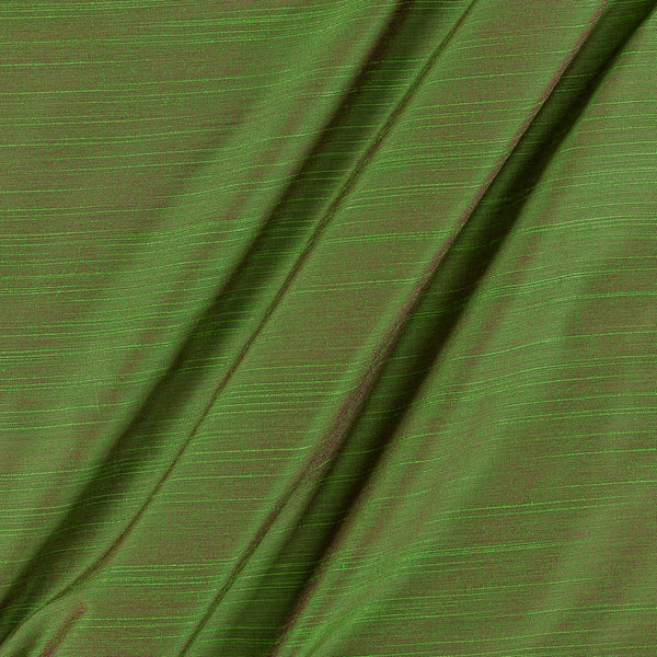 Spun Dupion (Artificial Raw Silk) Parrot Green To Pink Two Tone 42 inches Width Fabric