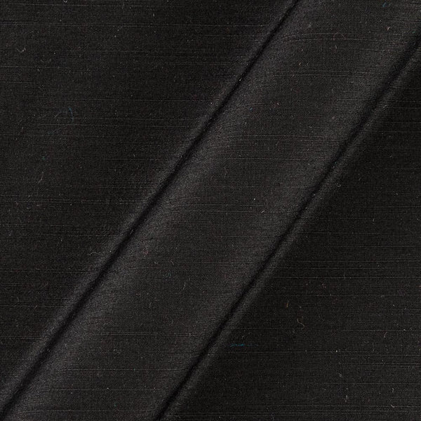 Black Color Spun Dupion (Artificial Raw Silk) 43 Inches Width Fabric