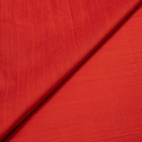 Spun Dupion (Artificial Raw Silk) Saffron Colour Fabric